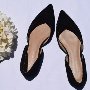 Anthropologie Black Riveted Pointed Toe Flats